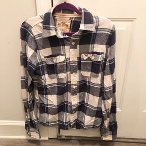 Blue and white Hollister flannel
